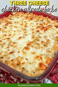Easy Casserole Recipes, Casserole Dishes, Pasta Casserole, Chicken Alfredo Casserole, Chicken Alfredo Lasagna, Baked Chicken, Chicken Recipes, Chicken Eggs, Garlic Chicken