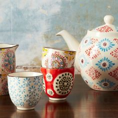 Buy Boho Print Cups from rigby & mac: Bright Boho cups, perfect size for espresso by day or Saki by night! Available in red & black, white & blue, red, white & blue, & white, red,...