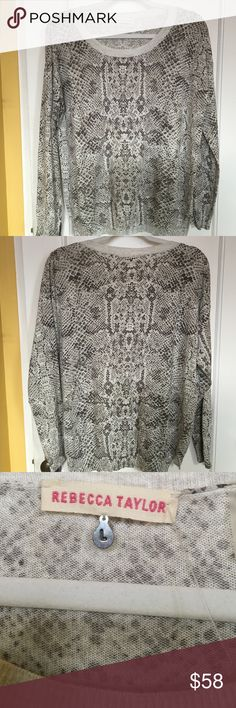 "REBECCA TAYLOR Snake Print NWOT Rebecca Taylor NWOT snake print in light cream gray colored thin knit and super soft top. 23"" armpit to armpit, 25"" length, 27"" sleeves, back is about an inch longer. Rebecca Taylor Tops Tees - Long Sleeve"