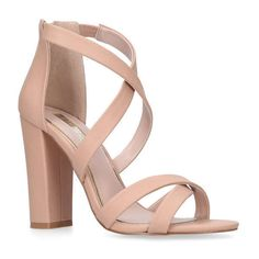 MISS KG  Faun Nude High Heel Sandals ($96) ❤ liked on Polyvore featuring shoes, sandals, heels, high heeled footwear, strap heel sandals, nude heel shoes, monk-strap shoes and nude shoes