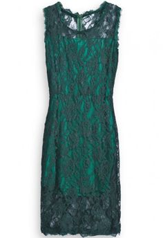 Green Sleeveless Hollow Back Zipper Lace Dress - Sheinside.com Mobile Site