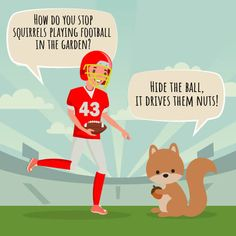 "A picture of a football player and a squirrel with the joke ""How do you stop squirrels playing football in the garden? Football Jokes, Football Players, Funny Knock Knock Jokes, How Do You Stop, Cheesy Jokes, Funny Jokes For Kids, Clean Jokes, Most Popular Sports, Football Pictures"