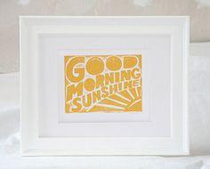 Baby Nursery Good Morning Sunshine  by rawartletterpress on Etsy, $18.00