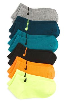 Stocking up on the necessities before heading back to school is easy with this set of stretchy low-cute socks in an array of colors.