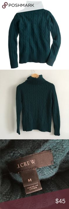"""J. Crew Cambridge Chunky Knit Emerald Sweater Gently pre-loved with no rips or stains. Please see all pictures for an accurate description of condition. 45% viscose, 24% wool, 23% nylon, 8% rabbit hair. Style #10294. Chest: 38"""". Length: 24"""". J. Crew Sweaters Cowl & Turtlenecks"""