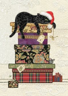 Cat Presents | Bug Art ac001 | Christmas Amy's  Original embroideries by Amy Butcher. Cards designed by Jane Crowther. Each card is gold foiled with a matching pearlized envelope.