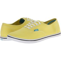 Vans Authentic Lo Pro Blue Graphite) Skate Shoes, Yellow ($25) ❤ liked on Polyvore featuring shoes, sneakers, yellow, white shoes, yellow shoes, waist trainer and vans sneakers