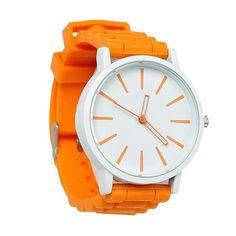 """Мода леди силиконовые регулируемая наручные часы круглый оранжевый желтый батарей в комплекте 24.5 см ( 9 5/8 """" ), 1 шт. 2015 новый"""
