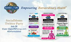 Join SocialMoms.com and Garden Of Life Tuesday July 28, from 11am-12pm PST (2-3pm EST) at the Garden of Life #DrFormulated Twitter Party! You'll be entered for a chance to win one of Fifteen $20 Amazon gift cards plus MSRP Dr. Formulated Women's Probiotic valued at $39.95 and a Grand Prize of a $500 Amazon Gift Card and one MSRP Dr. Formulated Women's Probiotic! RSVP:http://bit.ly/GLifeTP