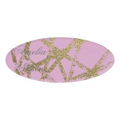 Modernabstracthand painted gold lines pinkdec name tag Custom nametags #teacher #tutor #business #nametags #officesupplies