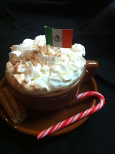 Mexican Hot Chocolate with a Candy Cane Treat...Yummy!
