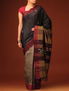 Black - Maroon Hand Woven Bhagalpur Silk Saree