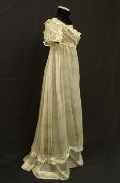 Regency silk gauze wedding dress, c.1810, from the Vintage Textile archives.