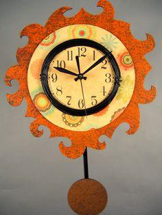 Sun Colored Art Deco Clock
