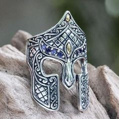 Gold Accent Etruscan Warrior Ring with Iolite - Warrior | NOVICA