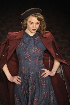 Love burgundy and navy together | Lena Hoschek Autumn/Winter 2012 via Zimbio