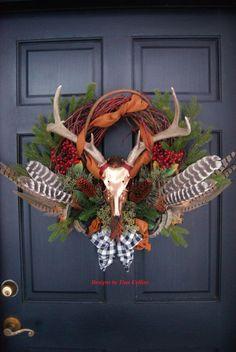 Deer antler pheasant and turkey feather Elegant wildlife wreath - - my new room - Thanskgiving Hunting Wreath, Antler Wreath, Feather Wreath, Fall Crafts, Christmas Crafts, Christmas Decorations, Diy Crafts, Seasonal Decor, Fall Decor