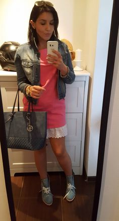 Denim ankle boots and pink dress with lace
