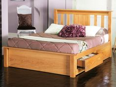 Sturdy and stylish oak bed frame. Features a high slatted headboard/ low foot board. Available in a quality oak/veneer finish Sizes: Double x King Size x Super King x Manufactured by Limelight. Similar to the Madison bed frame.