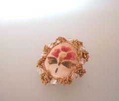 flower brooch cristal jewelry textil crochet by iluztro on Etsy, $12.00