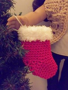 American Girl Doll Christmas Stocking, Red Holiday Stocking, 18 Inch Doll Red Stocking, Crochet Christmas Stocking White Fuzzy Trim Red Sock by MelindasClosetFinds on Etsy