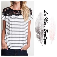 ✨Coning Soon✨ Lace Trim Tee Black and white striped tee.                             Cotton blend.                                                      Available in S and M.                                      I bundle discount on two or more items! Boutique Tops Tees - Short Sleeve