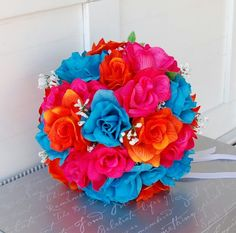 Orange, fucshia and turquoise bouquet Teal Wedding Centerpieces, Hot Pink Weddings, Summer Weddings, Spring Wedding, Turquoise Bouquet, Orange And Turquoise, Pink Blue, Flower Bouquet Wedding, Wedding Wishes