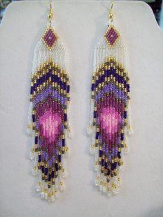 Native American Beaded Peacock Eye Pinks and Purples Earrings 5 1/2 in. long Shoulder Dusters. $35.00, via Etsy.