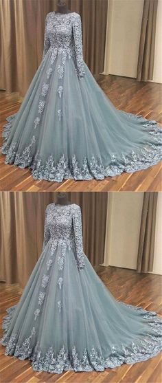 GRAY BALL GOWN APPLIQUE TULLE LONG PROM DRESS GRAY EVENING DRESS