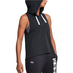 Women's Under Armour Modal Terry Sleeveless Hoodie (£36) ❤ liked on Polyvore featuring tops, hoodies, black, terry cloth hoodie, light weight hoodie, lightweight hoodies, lightweight hoodie and sleeveless hoodies