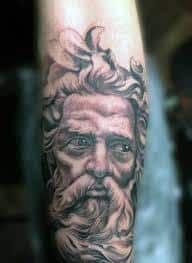 What does poseidon tattoo mean? We have poseidon tattoo ideas, designs, symbolism and we explain the meaning behind the tattoo. Poseidon Tattoo, Tattoos Skull, Sleeve Tattoos, Tattoos For Guys, Cool Tattoos, Tribal Makeup, Greek Mythology Tattoos, Wolf, Small Elephant