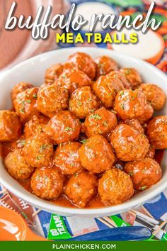 Buffalo Ranch Meatballs - only 3 ingredients! Great for tailgating and parties!! Can make in the slow cooker or stovetop. Everyone goes crazy over this easy appetizer! #tailgating #partyfood #slowcooker #appetizer Buffalo Meatballs, Beef Appetizers, Recipes Appetizers And Snacks, Appetizer Ideas, Party Appetizers, Party Snacks, Snack Recipes, Desserts, Dessert