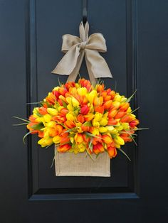 Spring Wreath Tulip Wreath Burlap Wreath by EverBloomingOriginal