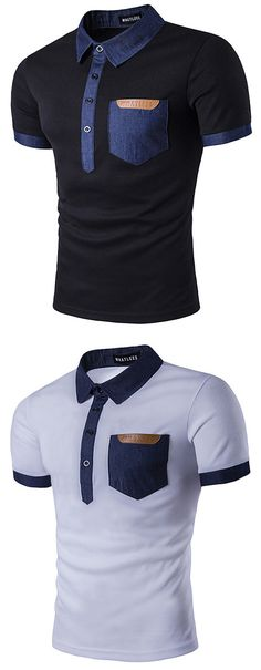 Mens Stitching Color Front Pocket Lapel Polo Shirt Short Sleeve Spring Summer Casual Tops