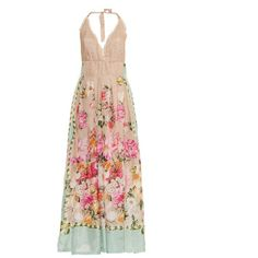 Emamò Floral and butterfly-print silk maxi dress ($351) ❤ liked on Polyvore featuring dresses, long dresses, pink multi, white halter top, halter maxi dress, pink dress, long maxi dresses and long floral dresses