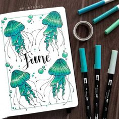 incredible June monthly spreads for your Bullet Journal! Get creative with cover pages with our 5 tips on how to create gorgeous simple and easy pages! Bullet Journal Cover Ideas, Bullet Journal Monthly Spread, Bullet Journal Banner, Bullet Journal Notebook, Bullet Journal School, Bullet Journal Ideas Pages, Journal Covers, Bullet Journal Inspiration, Bullet Journal Birthday Tracker