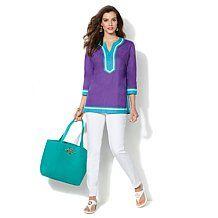 IMAN Global Chic Luxury Resort Colorblock Tunic