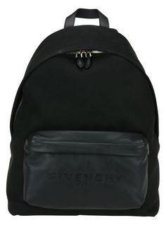 GIVENCHY LOGO BLACK LEATHER & CANVAS BACKPACK  BJ05763-577-001 #GIVENCHYRIDERSTAR #Backpack Fendi, Gucci, Designer Backpacks, Canvas Backpack, Luxury Designer, Ysl, Givenchy, Versace, Burberry