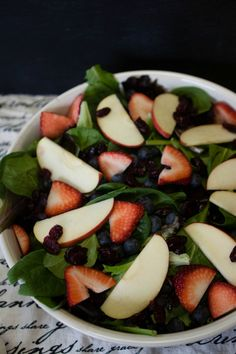 Simple and Delicious: Leafy Green Salad with Fresh Fruit and a Homemade Savory Dijon Wine Vinaigrette
