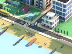 Low-Poly beach housing on Behance