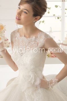 bb50642a3e82 2015 Bateau Lace Wedding Dress A Line Court Trian With Applique And Handmade  Flower Aire Barcelona
