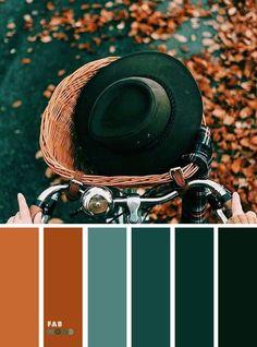 Rustic Home Interior Green Emerald Deep Green Brown Autumn Leaf Color { Autumn Color Inspiration } Deep green ocean color burnt orange brown color combos Color Schemes Colour Palettes, Fall Color Palette, Colour Pallette, Color Combos, Interior Colour Schemes, Rust Color Schemes, Rustic Color Palettes, Orange Color Palettes, Green Colour Palette