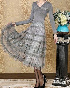 lace dress knitted sweater dress brides mother dress  chiffon dress Elegant Dress formal dress tulledress embroidered dressN-173