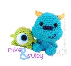 2000 Free Amigurumi Patterns: Monsters Inc. Baby Mike and Sulley : 2000 Free Amigurumi Patterns: Monsters Inc. Baby Mike and Sulley Crochet Diy, Crochet Crafts, Crochet Dolls, Yarn Crafts, Crochet Projects, Ravelry Crochet, Mike E Sulley, Mike And Sully, Crochet Mignon