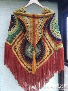 PONCHOS FROM GRANNY SQUARES - CrochetRibArt