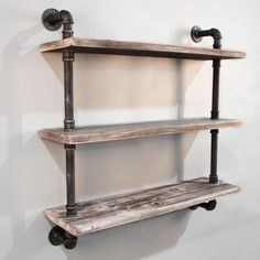 Featuring a set of urban rustic floating pipe shelf that is perfect for homes, offices and cafe interiors. Made from quality metal pipe and solid timber, the pipe shelf is one of a kind design. Adding the perfect rustic accent to the space; ideal for someone who is looking for industrial modern decor. Product Features: Made from quality metal pipe and solid timber 3 level rustic industrial pipe shelf Easy, simple and unique design Add additional shelving space easily and effortlessly…
