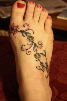 Cute And Comfy... Grrrr - Foot tattoo