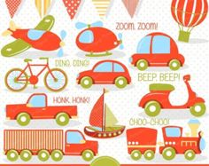 Transportation Clipart & Patterns In Crayon Box by AmandaIlkov