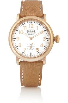 Shinola Runwell rose gold-plated and leather watch | NET-A-PORTER
