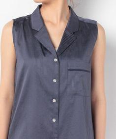 【サテンストライプパジャマシャツ】上品な光沢を放つ素材感で、リラックスタイムをエレガントに演出す…